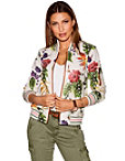 Floral Vegan Leather Bomber Jacket Photo