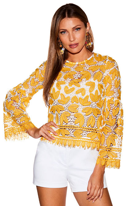 Lace bell sleeve illusion top image