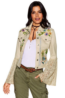 Lace flare sleeve embroidered jacket