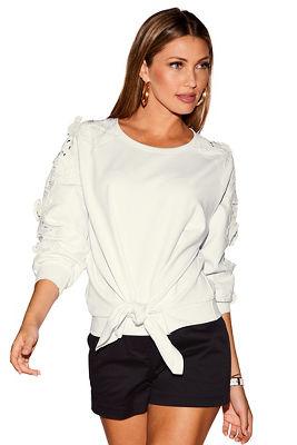 Lace tie front sweatshirt