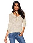 Lace-up Back V-neck Sweater Photo