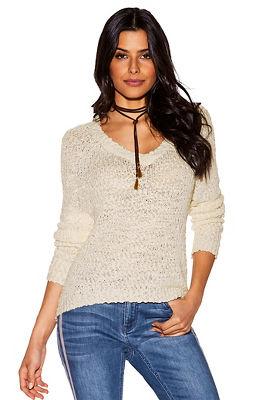 Lace-up back v-neck sweater