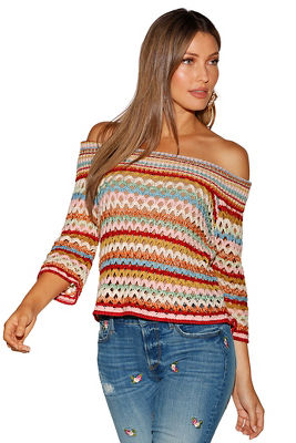 multicolor stripe off-the-shoulder sweater