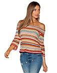 Multicolor Stripe Off-the-shoulder Sweater Photo