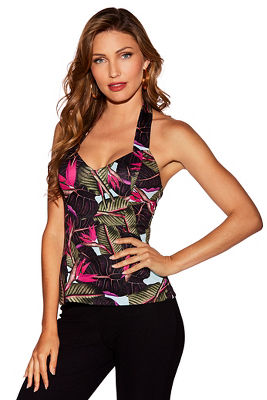 Multicolored palm halter top