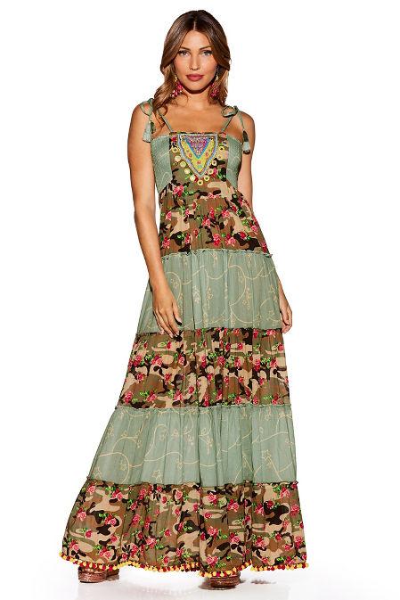 Nomad camo embellished maxi dress image