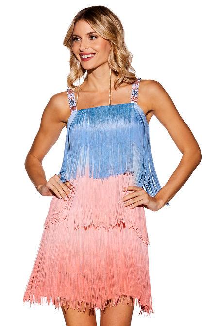 Ombre fringe embellished dress image