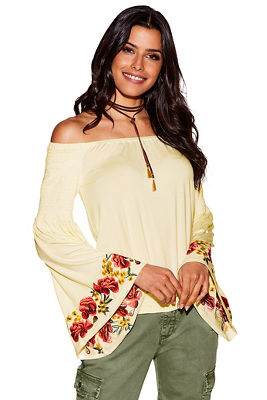 Off-the-shoulder floral embroidered flare sleeve top