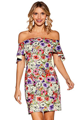 Display product reviews for Off-the-shoulder floral scuba dress
