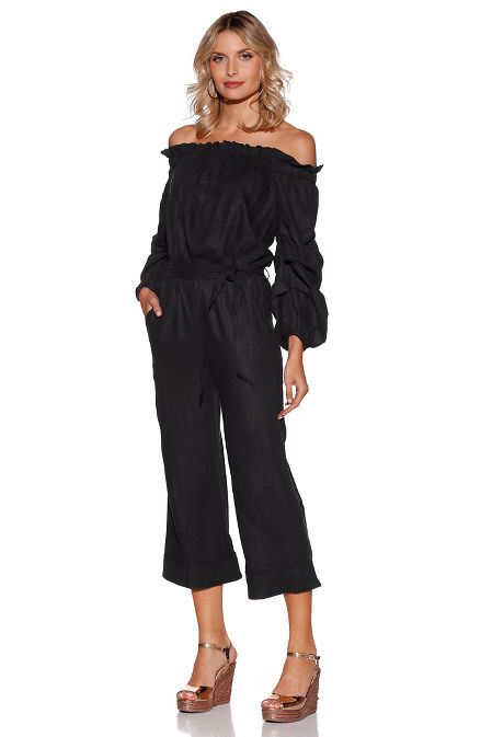 Off-the-shoulder linen jumpsuit image