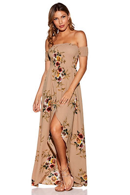 Off-the-shoulder smocked floral maxi dress