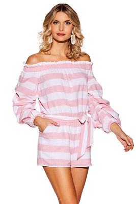Off-the-shoulder stripe romper