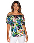 Off-the-shoulder Tropical Leaves Top Photo