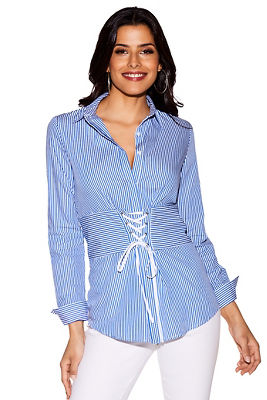 Pinstripe lace-up waist shirt