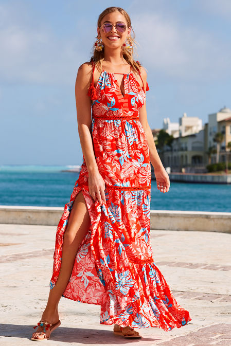 Red floral maxi dress image