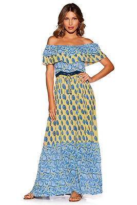 Display product reviews for Ruffle off-the-shoulder printed maxi dress