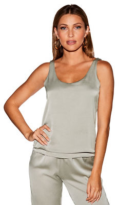 satin layered tank top