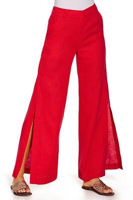 Side slit linen pant