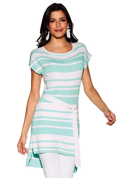 Side tie stripe tunic sweater image