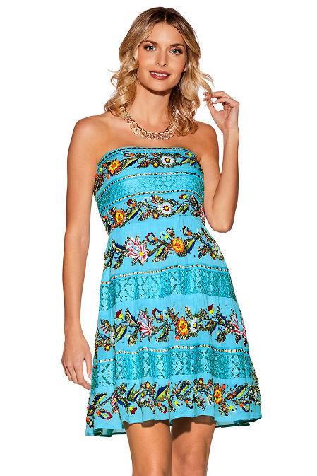 Strapless colorful embellished dress image