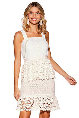Tiered Floral Lace Dress