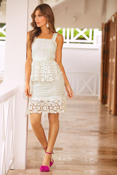 Tiered Floral Lace Dress image