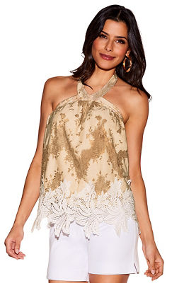 Display product reviews for Tonal lace halter blouse