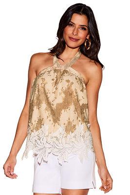 Tonal lace halter blouse