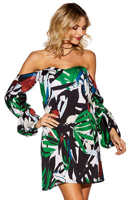 Display product reviews for Tropical off-the-shoulder dress