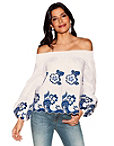 Floral Embroidered Puff-sleeve Top Photo