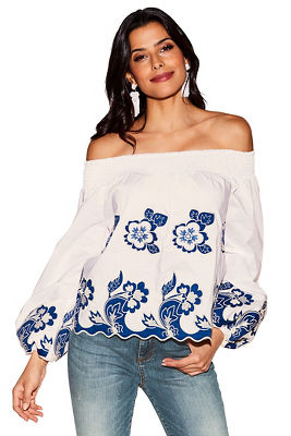 Floral embroidered puff-sleeve top