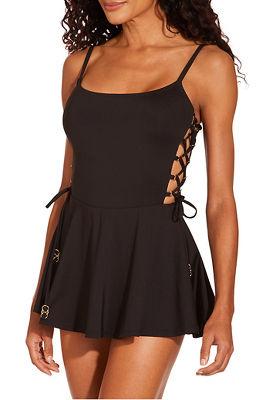 0ffbe885daa4e Side lace-up swim dress