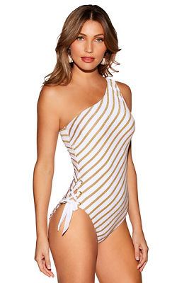 Striped one shoulder one-piece swimsuit