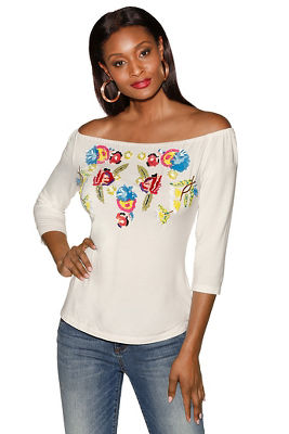 Display product reviews for Sequin floral off-the-shoulder top