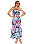 Strapless Ruffle Floral Maxi Dress Photo