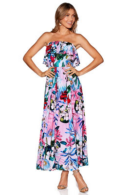 Strapless ruffle floral maxi dress