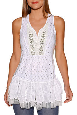 Embellished eyelet and lace top