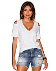 Solid Cold Shoulder Cutout Slub Tee Photo