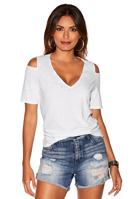 Solid cold shoulder cutout slub tee