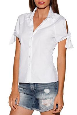 Tie sleeve cold-shoulder shirt