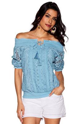 floral lace off-the-shoulder smocked top