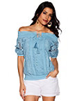 Floral Lace Off-the-shoulder Smocked Top Photo