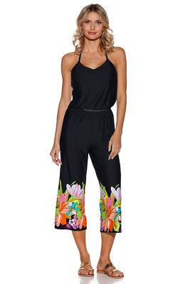 floral hem sleeveless jumpsuit