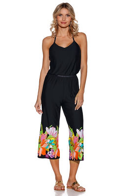 Floral hem sleeveless jumpsuit