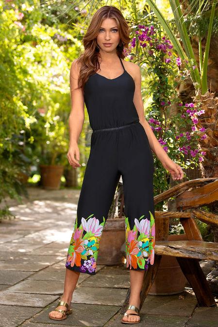 Floral hem sleeveless jumpsuit image