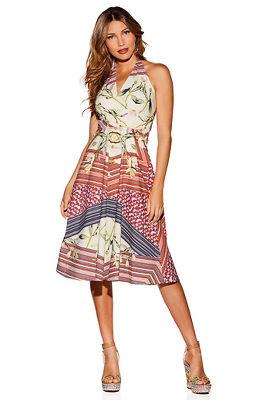Stripe and floral halter dress