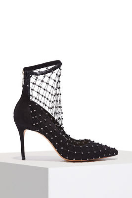 fishnet embellished pump