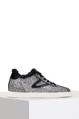 Metallic faux fur trim sneaker