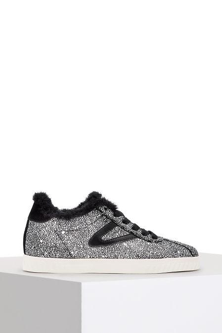 Metallic faux fur trim sneaker image