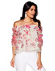 Off-the-shoulder Embroidered Floral Lace Top Photo